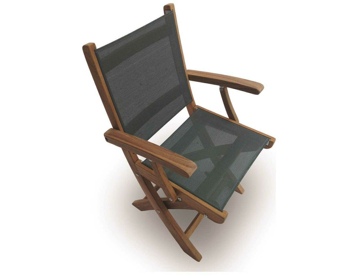 Royal Teak Collection Sailmate Moss Sling Folding Dining Arm Chair