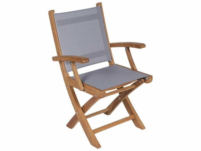 Royal Teak Collection Sailmate Folding Arm Chair - Gray Sling