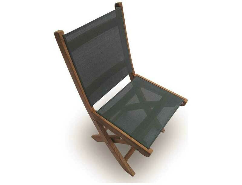 Royal Teak Collection Sailmate Moss Sling Folding Dining Side Chair