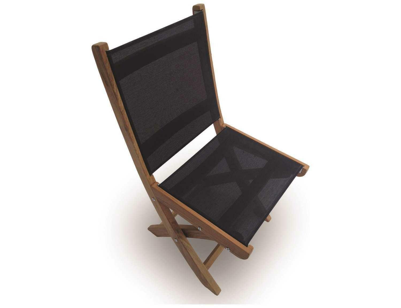 Royal Teak Collection Sailmate Black Sling Folding Dining Side Chair