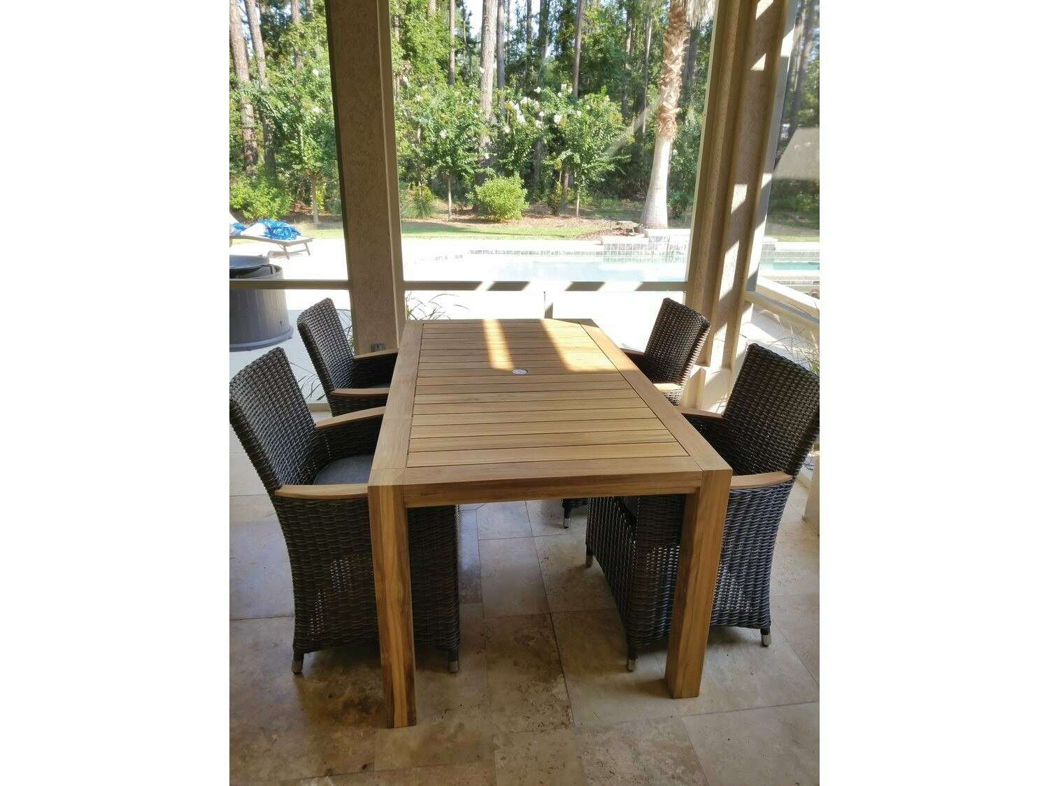 Royal Teak Collection Helena Wicker Chair 5pc Dining Set