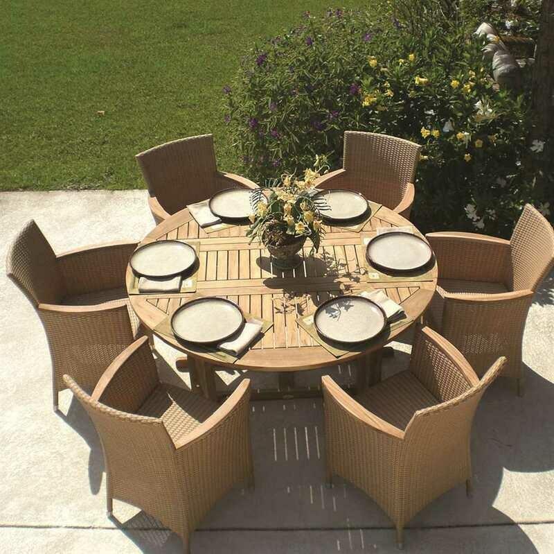 Royal Teak Helena Wicker Cushion Honey Dining Set