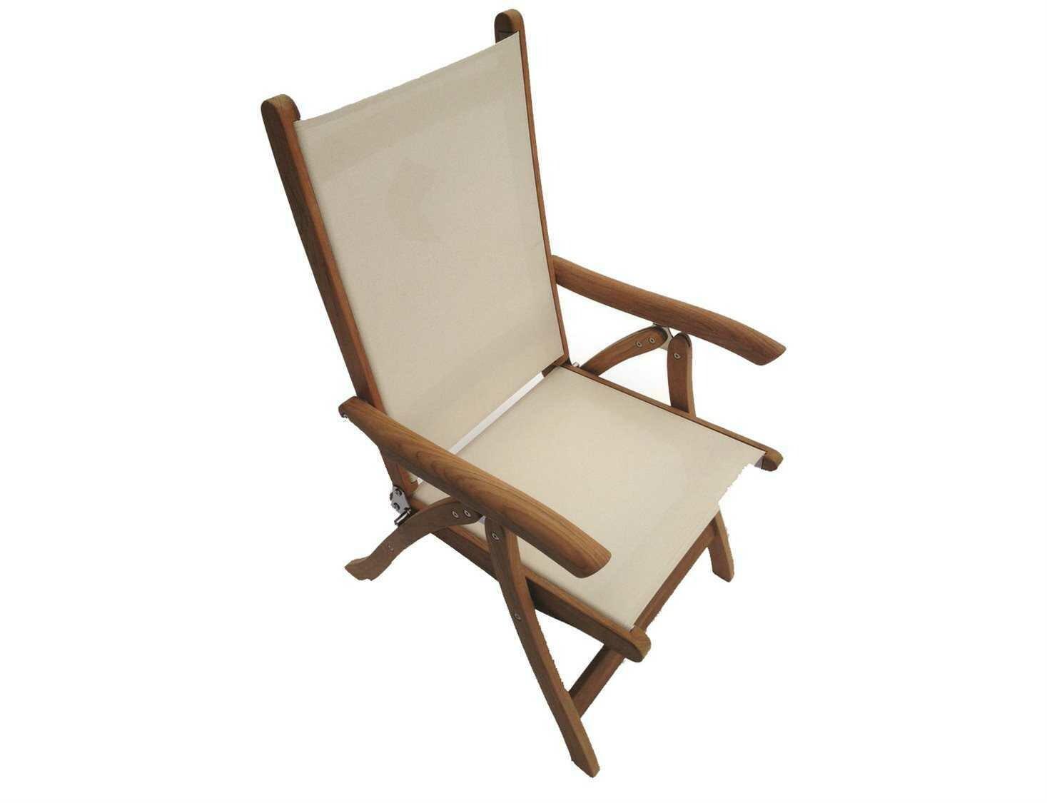 Royal Teak Collection Florida White Sling Adjustable Folding Dining Arm Chair