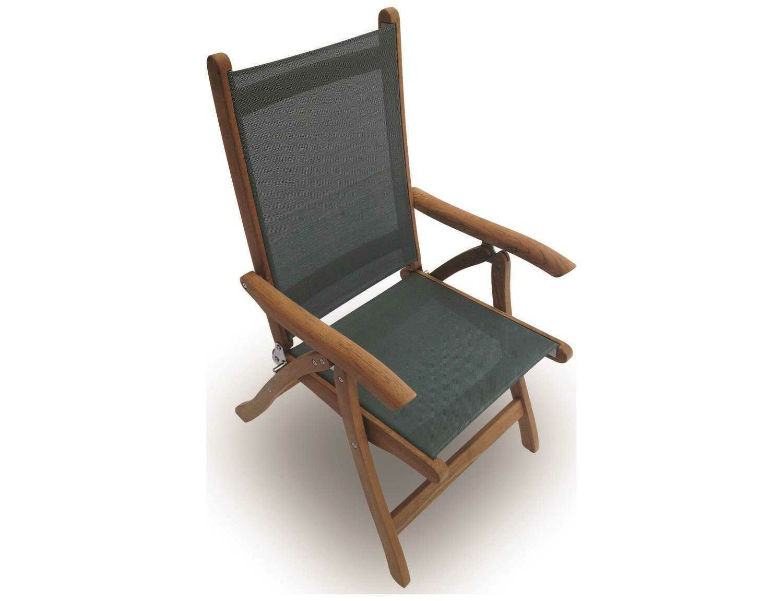 Royal Teak Collection Florida Moss Sling Adjustable Folding Dining Arm Chair