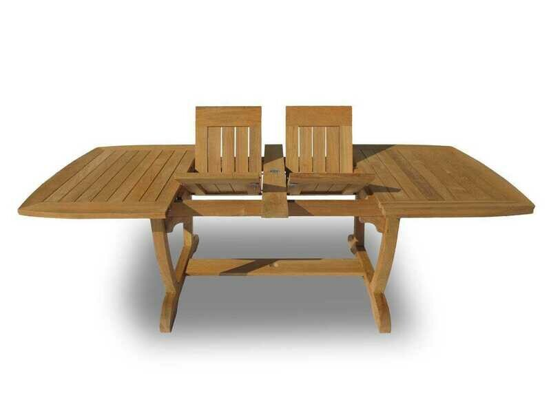 Royal Teak Collection Expansion 84''W x 43''D Rectangular Double Leaf Gala Dining Table