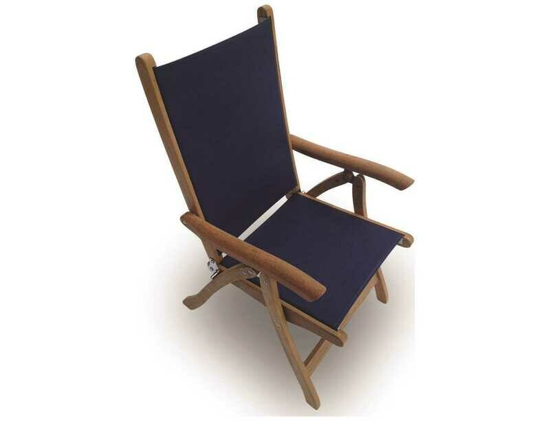 Royal Teak Collection Florida Navy Sling Adjustable Folding Dining Arm Chair