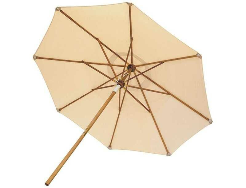 Royal Teak Collection Deluxe 10 Foot White Octagonal Manual Lift No Tilt Umbrella