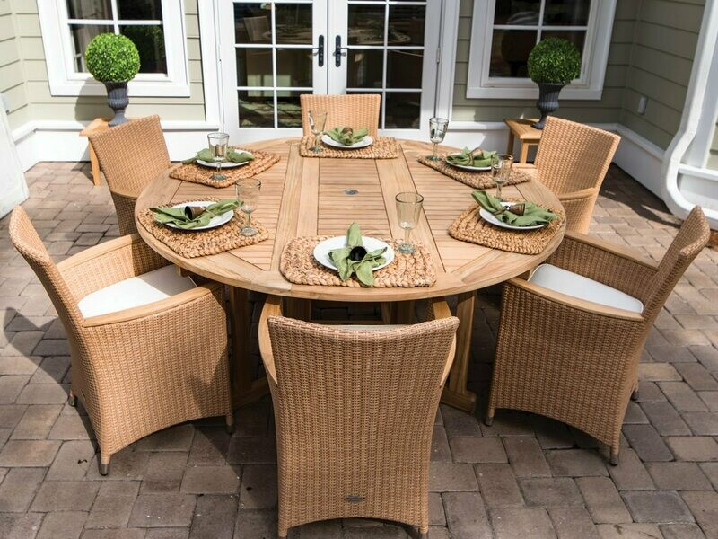 Royal Teak Collection 60'' Wide Round Drop Leaf Dining Table