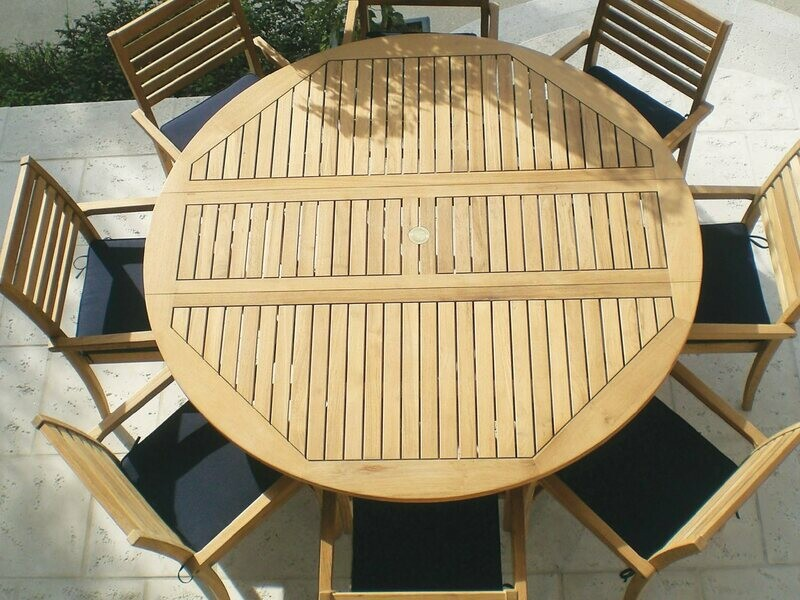 Royal Teak Collection 72'' Wide Round Drop Leaf Dining Table