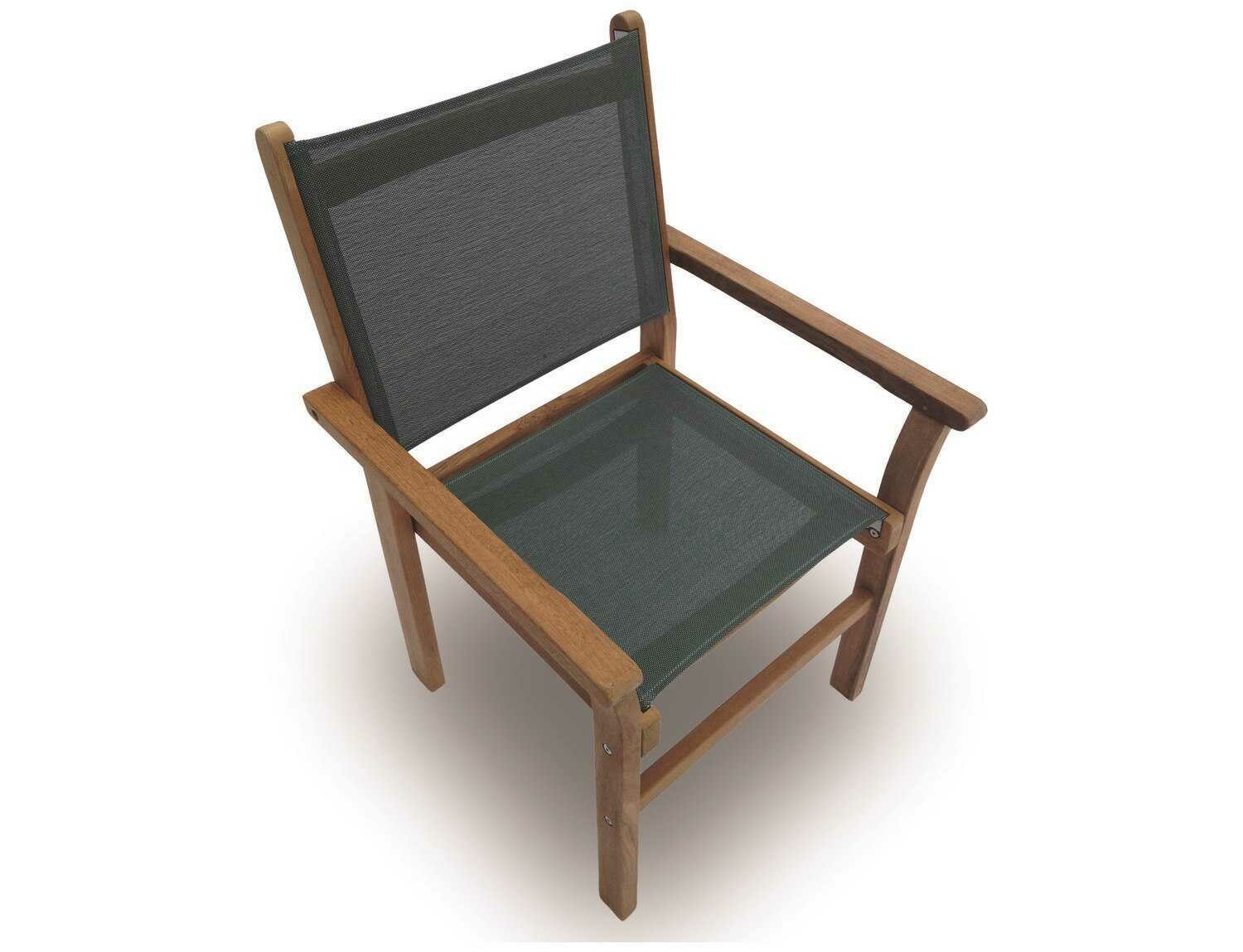 Royal Teak Collection Captiva Moss Sling Stackable Dining Arm Chair