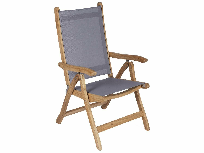 Royal Teak Collection Florida Gray Sling Adjustable Folding Dining Arm Chair