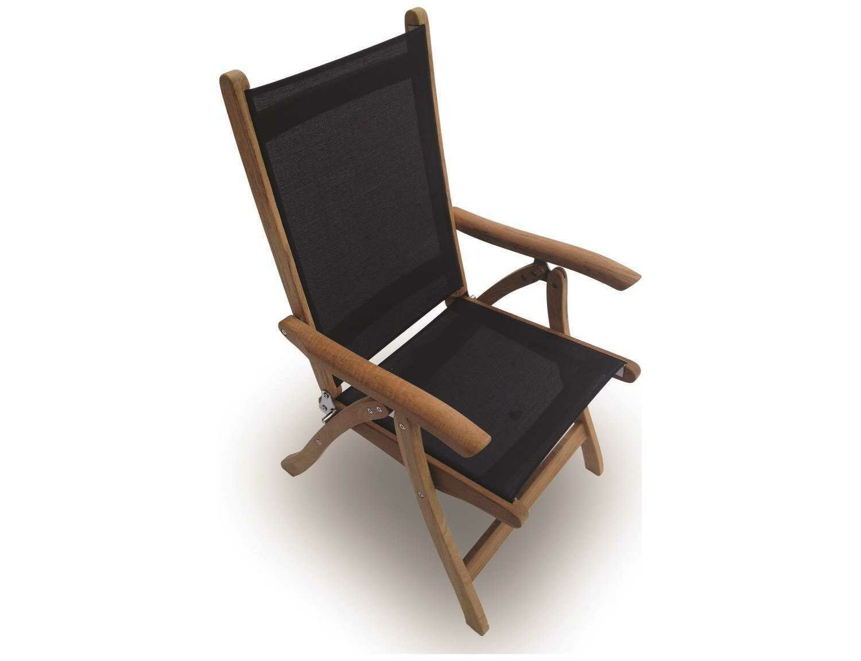 Royal Teak Collection Florida Black Sling Adjustable Folding Dining Arm Chair
