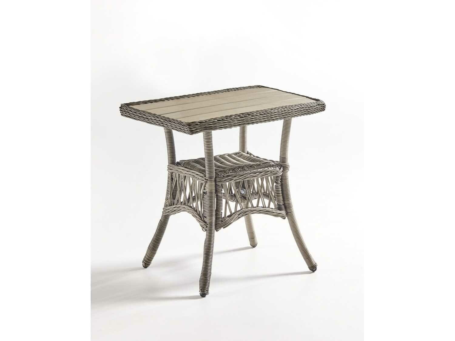 South Sea Rattan Westbay Wicker Slate 24''W x 20''D Rectangular Poly Top End Table