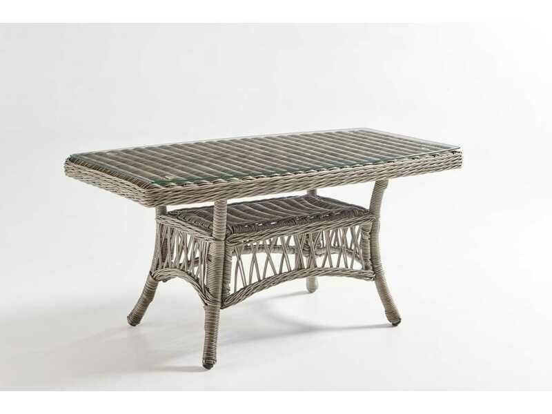 South Sea Rattan Westbay Wicker Slate 42''W x 24''D Rectangular Glass Top Coffee Table