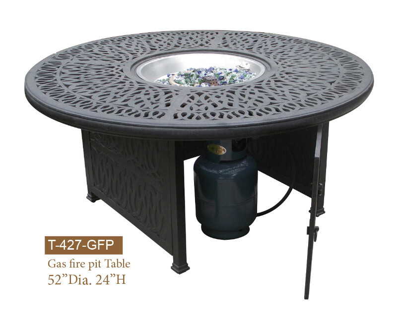 GFP Collection Round Gas Fire Pit Chat Table W/ Burner