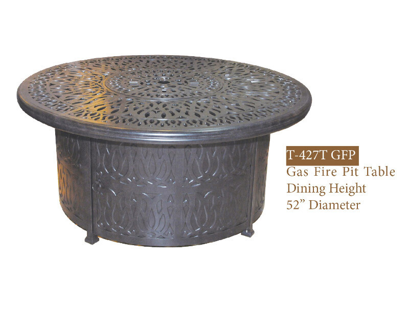 GFP Collection Round Gas Fire Pit Dining Table W/ Burner