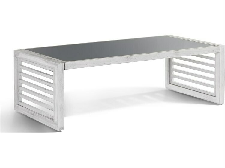 South Sea Rattan Veda Aluminum Soft White 52''W x 26''D Rectangular Coffee Table