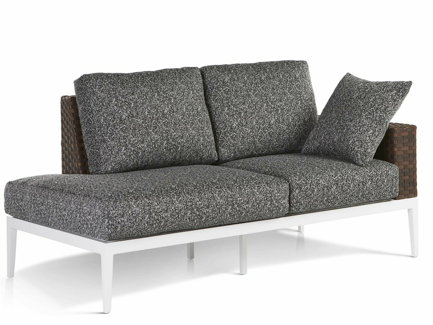 South Sea Rattan Stevie Wicker Loveseat with Right Side Facing Table
