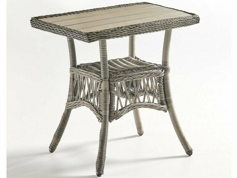 South Sea Rattan Westbay Wicker Slate 42''W x 24''D Rectangular Coffee Poly Top Table