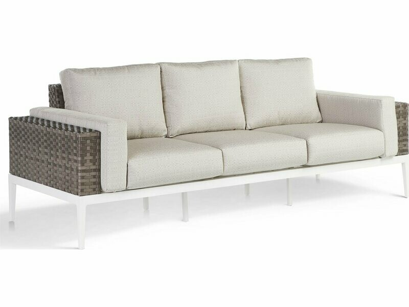 South Sea Rattan Stevie Wicker Sofa with Bolsters Pillows