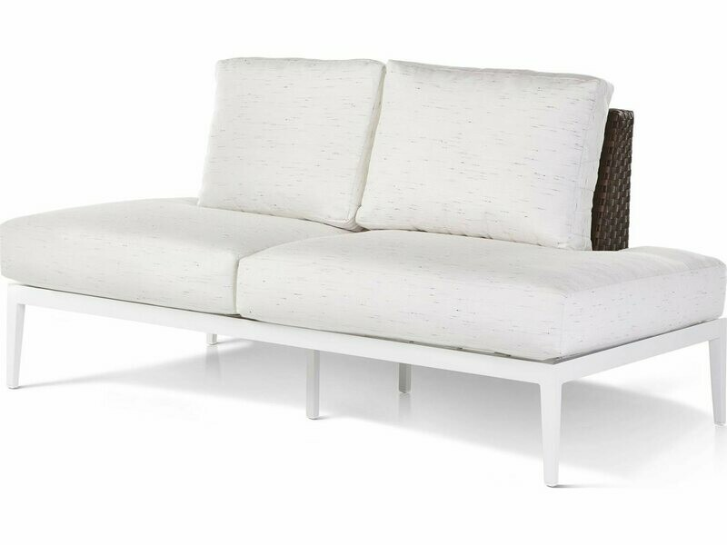 South Sea Rattan Stevie Wicker Left Arm Chaise Lounge with Wrap Around Cushion