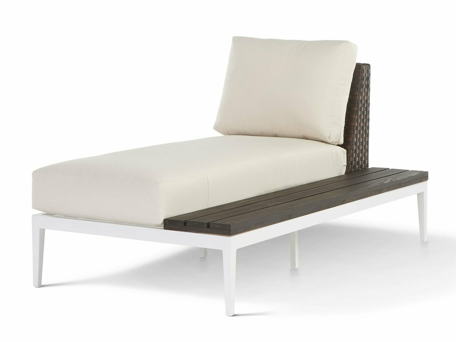 South Sea Rattan Stevie Wicker Chaise Lounge with Right Side Facing Table