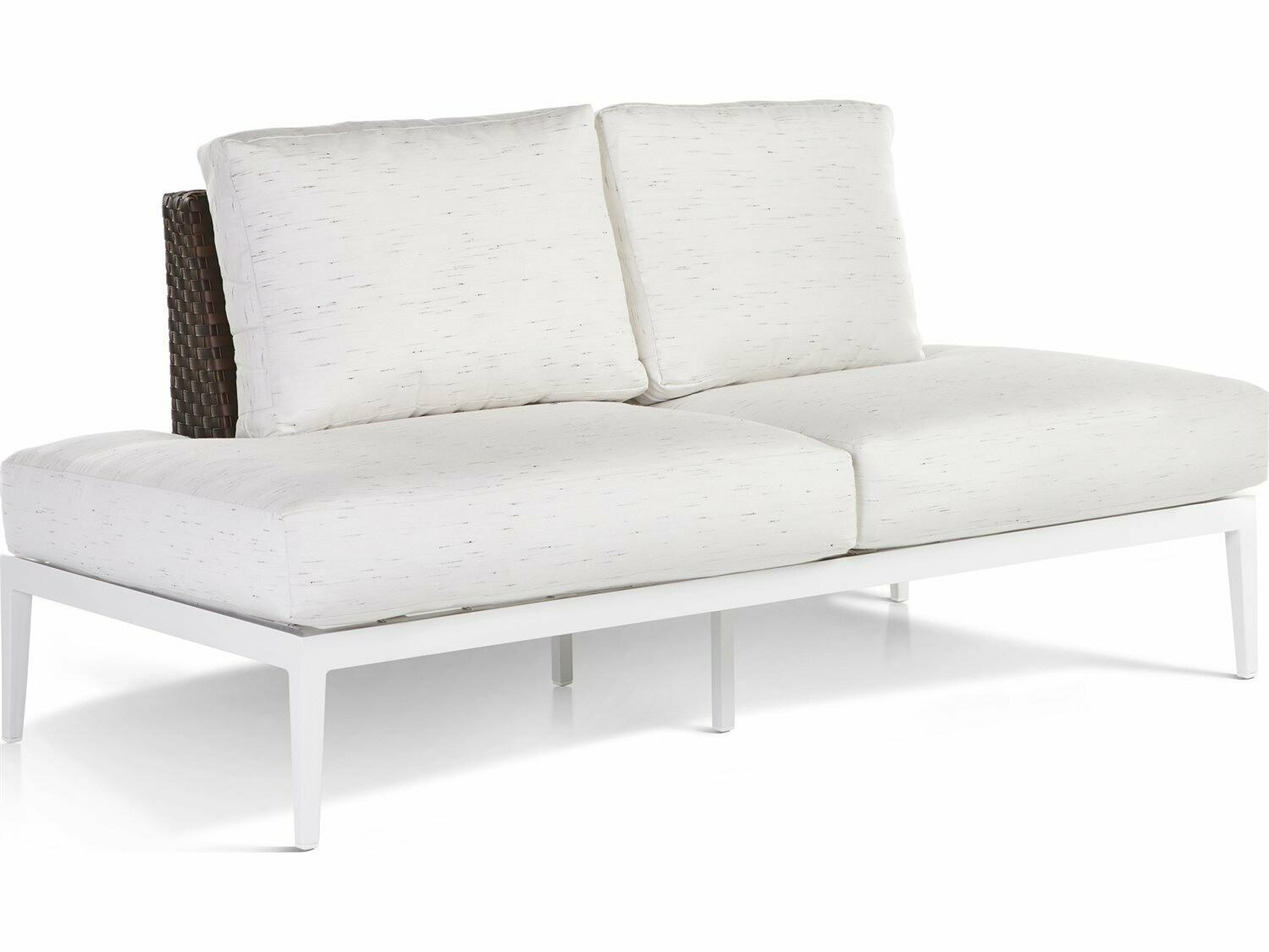 South Sea Rattan Stevie Wicker Modular Loveseat with Wrap Around Cushions
