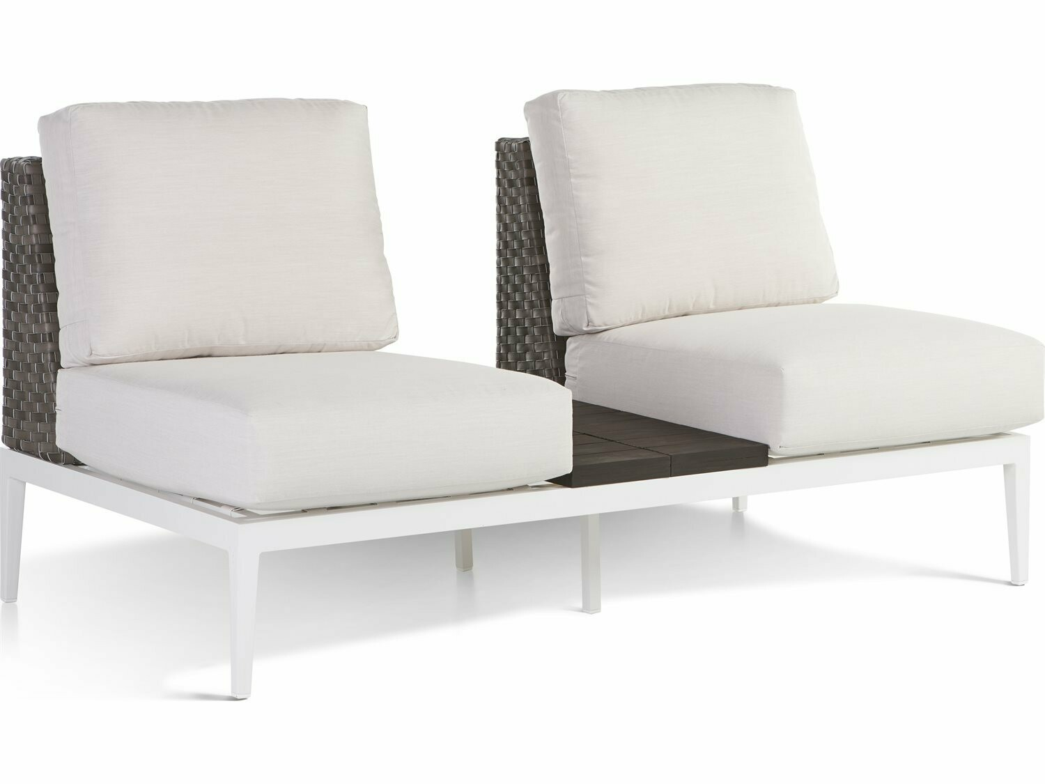 South Sea Rattan Stevie Wicker Loveseat with in Between Table