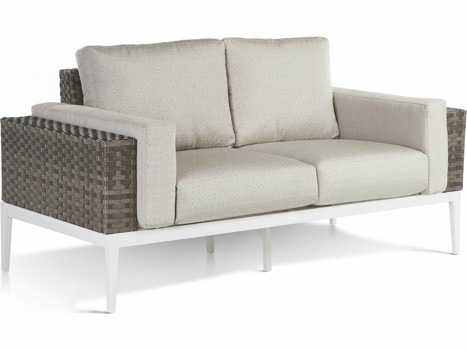 South Sea Rattan Stevie Wicker Loveseat with Bolsters Pillows