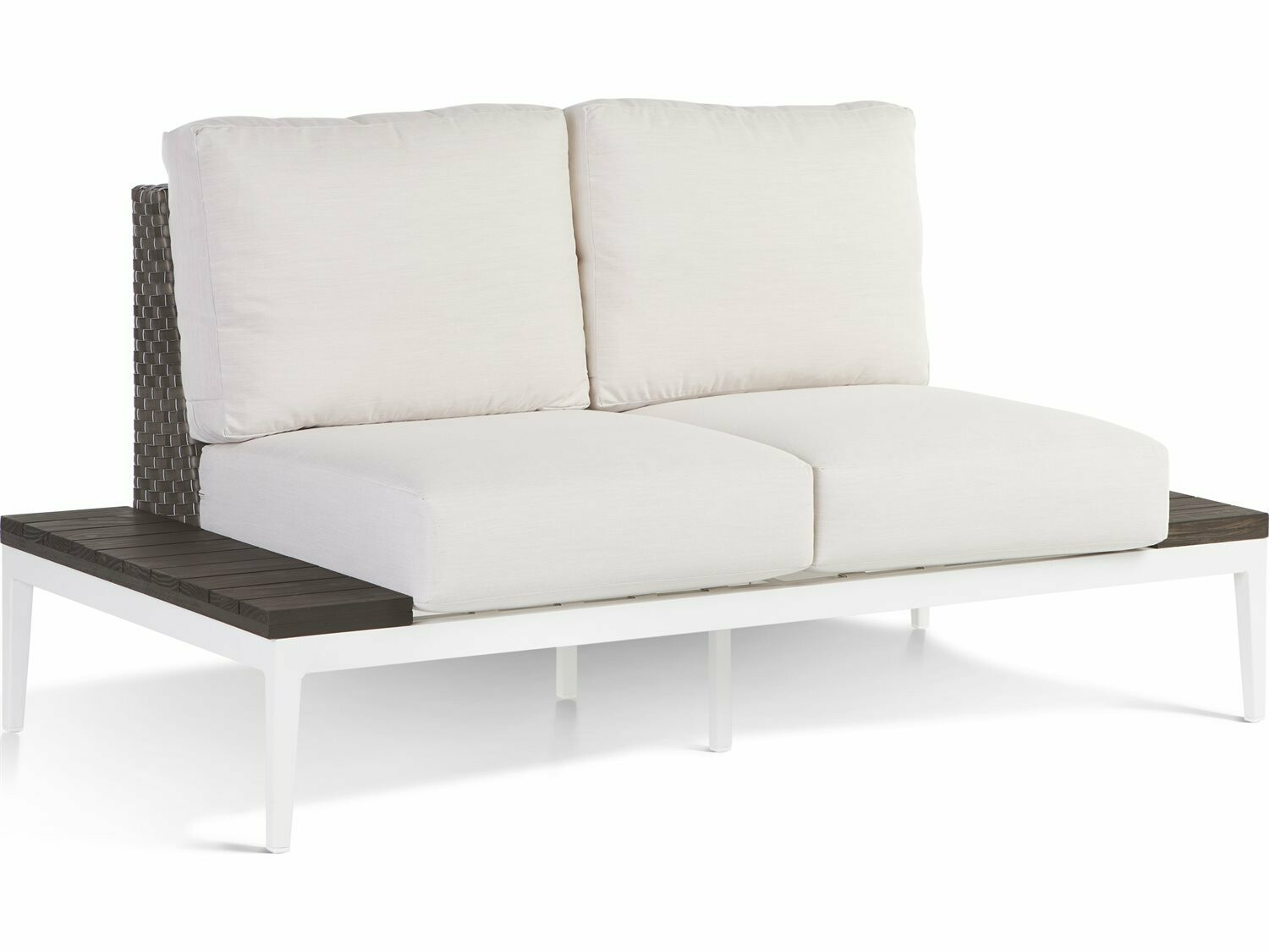 South Sea Rattan Stevie Wicker Loveseat with Side Tables