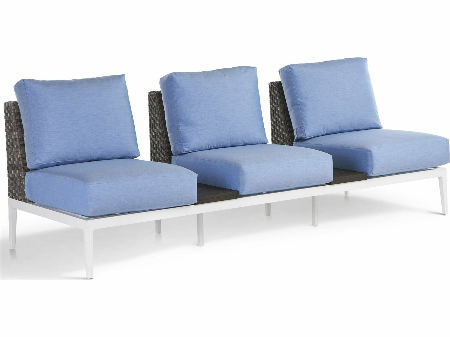 South Sea Rattan Stevie Wicker Loveseat with Tables