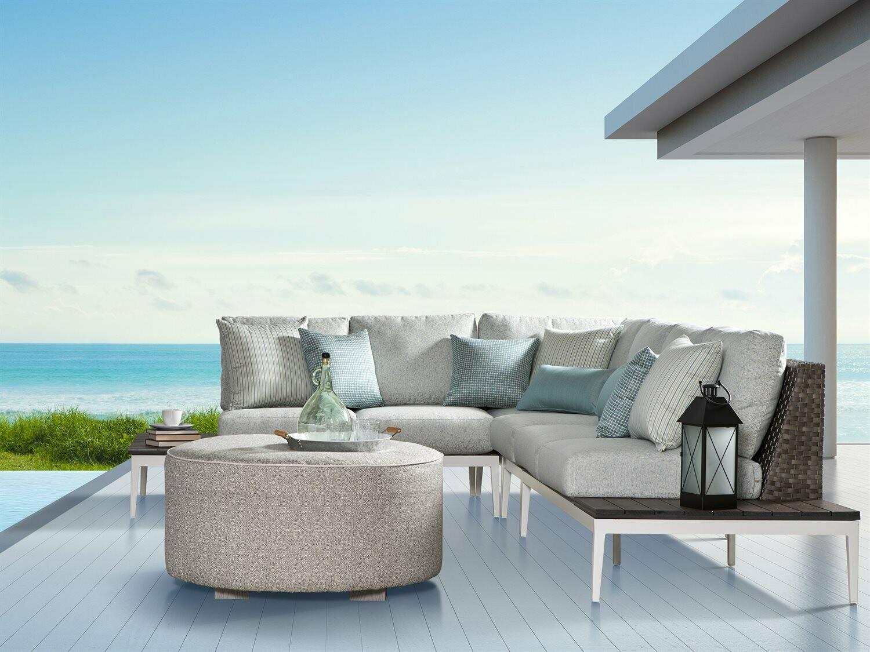 South Sea Rattan Stevie Wicker Sectional Lounge Set