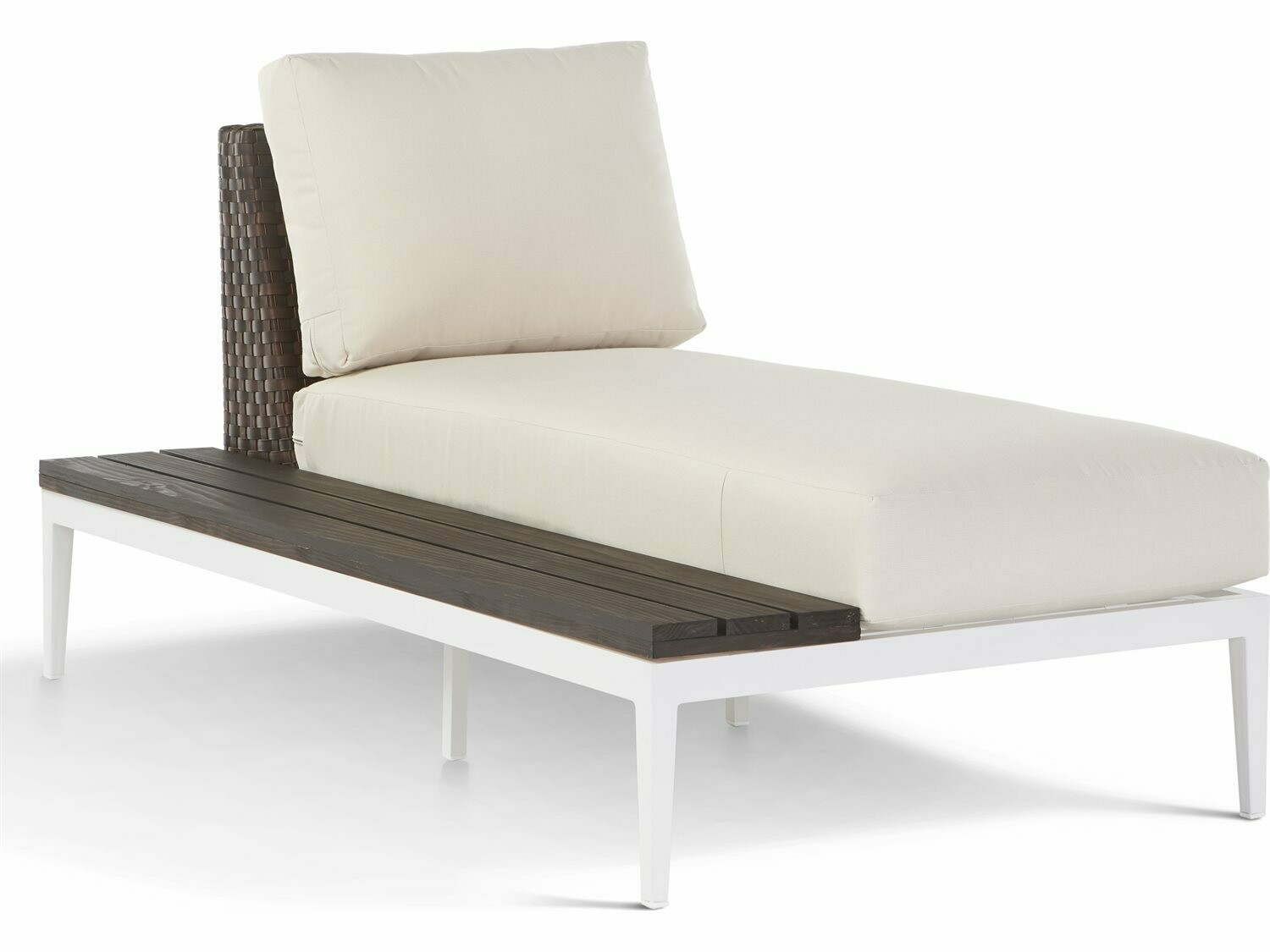 South Sea Rattan Stevie Wicker Chaise Lounge with Left Side Facing Table