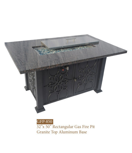 Hanover Collection Rectangular Gas Fire Pit/ Granite Top