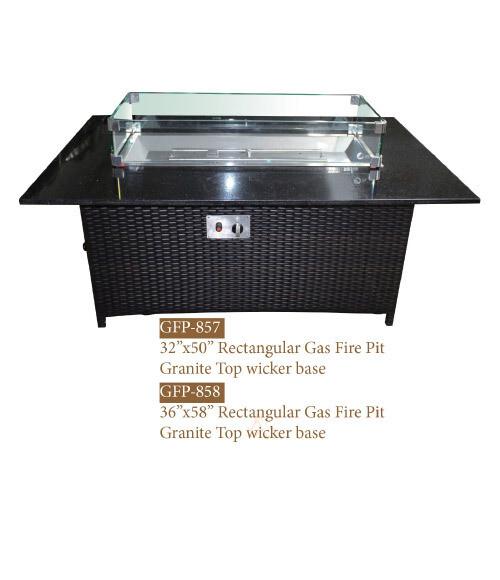 Gas Fire Pit w/ Granite Top/Wicker Base