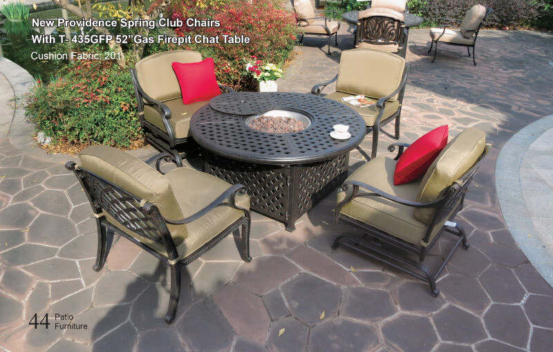 New Providence Collection Round Gas Fire Pit Table  W/Burner