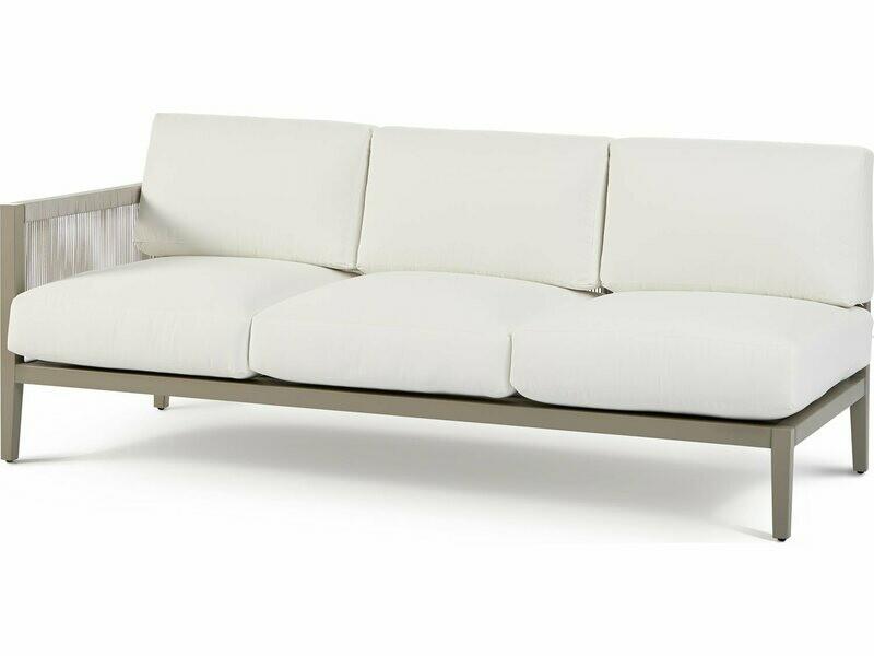 South Sea Rattan Nicole Aluminum Greystone Left Arm Sofa