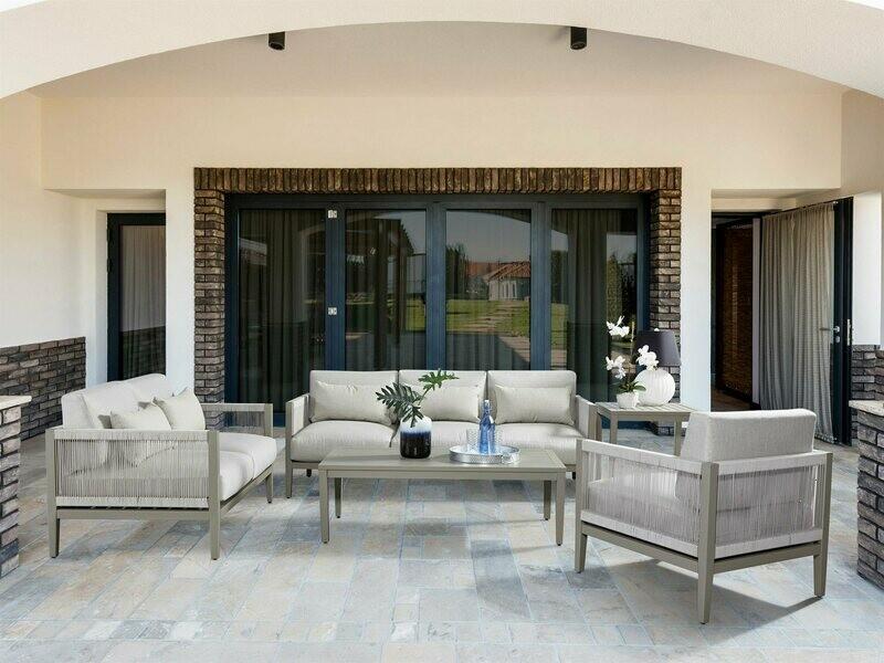 South Sea Rattan Nicole Aluminum Greystone Lounge Set