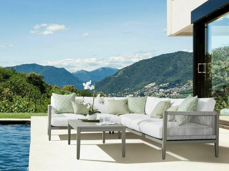 South Sea Rattan Nicole Aluminum Greystone Sectional Lounge Set
