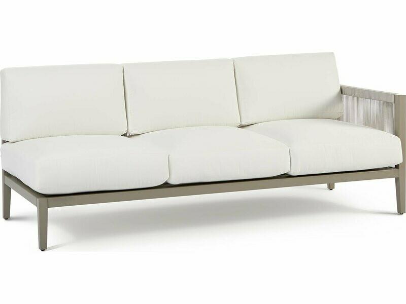 South Sea Rattan Nicole Aluminum Greystone Right Arm Sofa