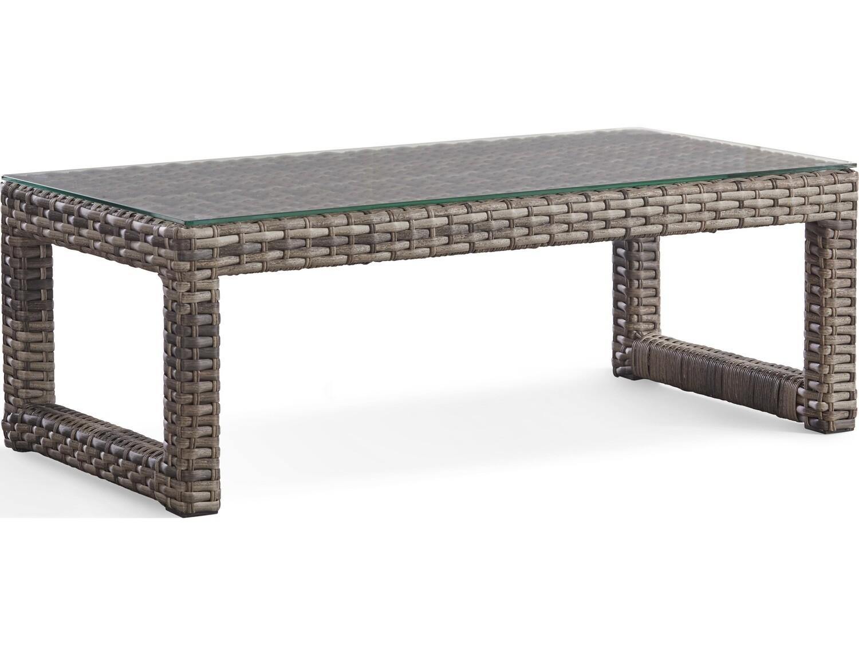 South Sea Rattan New Java Wicker Sandstone 48''W x 24''D Rectangular Glass Top Coffee Table