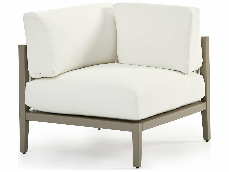 South Sea Rattan Nicole Aluminum Greystone Corner Lounge Chair