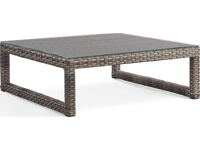 South Sea Rattan New Java Wicker Sandstone 42'' Wide Square Glass Top Coffee Table