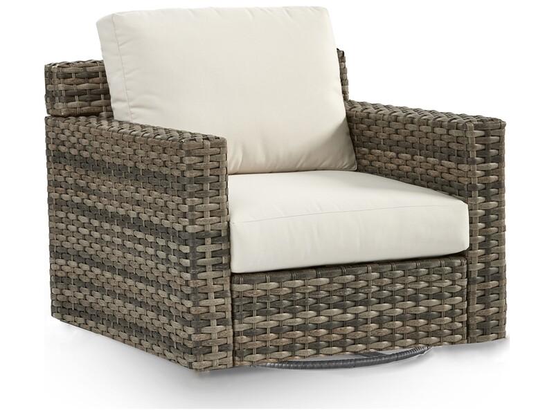 South Sea Rattan New Java Wicker Sandstone Swivel Glider Lounge Chair