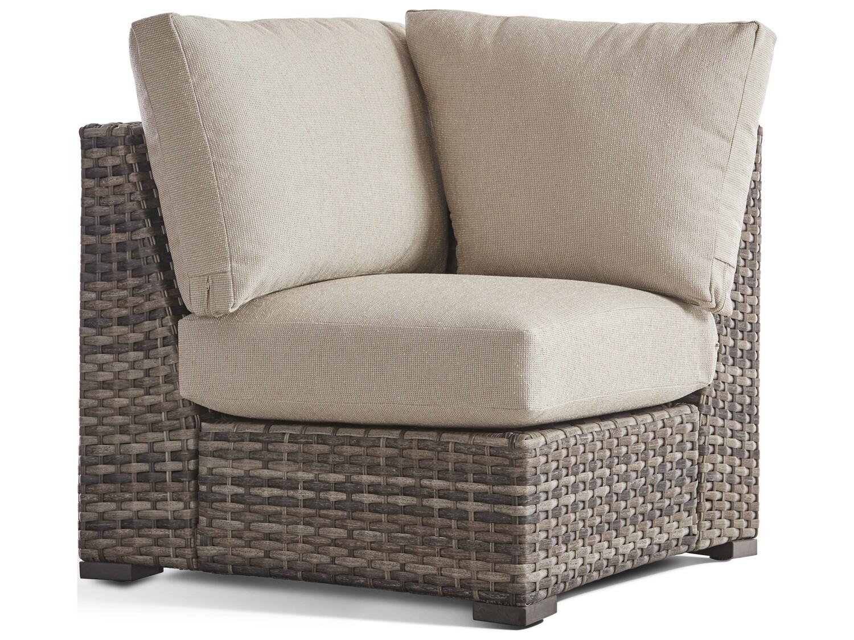 South Sea Rattan New Java Wicker Sandstone Square Corner Lounge Chair