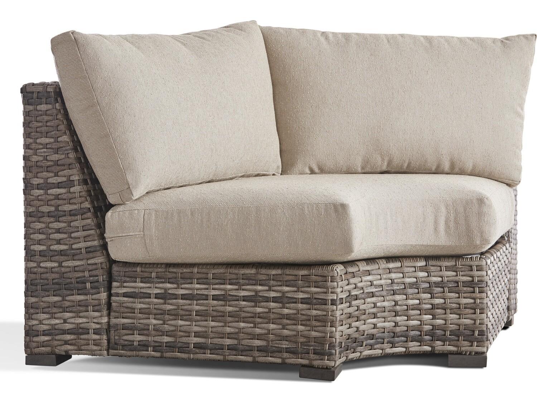 South Sea Rattan New Java Wicker Sandstone Wedge Corner Lounge Chair