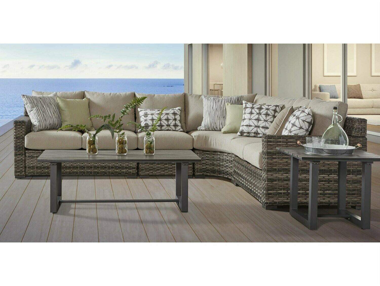 South Sea Rattan New Java Wicker Sandstone Sectional Lounge Set