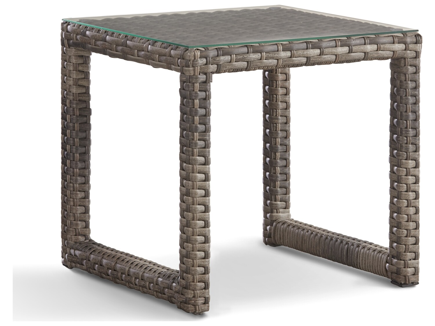 South Sea Rattan New Java Wicker Sandstone 28''W x 22''D Rectangular Glass Top End Table