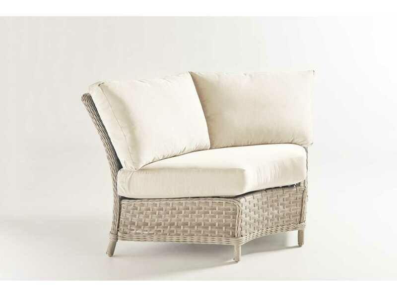 South Sea Rattan Mayfair Wicker Pebble Wedge Corner Lounge Chair