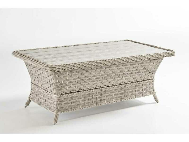 South Sea Rattan Mayfair Wicker Pebble 42''W x 24''D Rectangular Poly Top Coffee Table